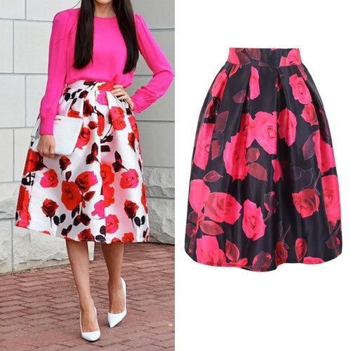 outfit Moda-2015-mujer-de-satén-faldas-para-mujer-Vintage-Floral-estampado-Midi-plisada-faldas-moda-mujer